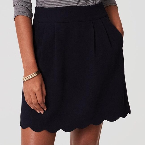 LOFT Dresses & Skirts - LOFT: scalloped indigo dress skirt